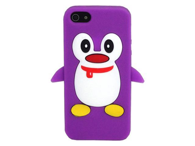 ASleek Purple Penguin Silicone Soft Case Cover for Apple iPhone 5