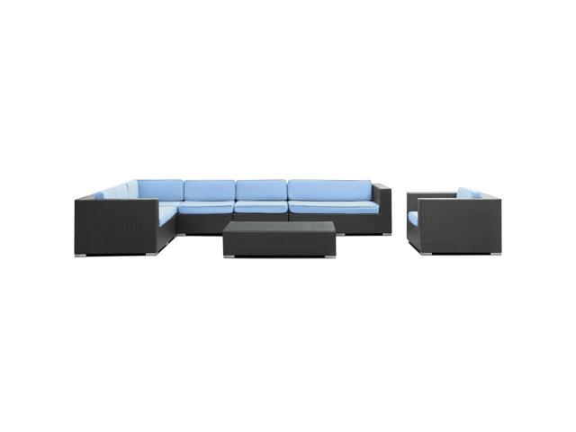 Palm Springs Outdoor Wicker Patio 7 Piece Sectional Sofa Set in Espresso with Light Blue Cushions
