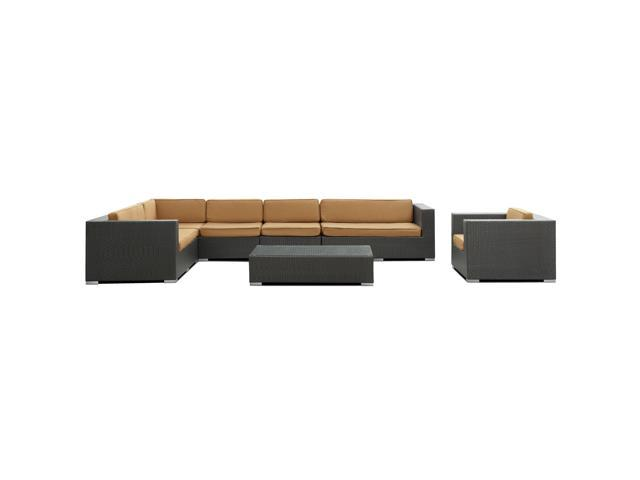 Palm Springs Outdoor Wicker Patio 7 Piece Sectional Sofa Set in Espresso with Mocha Cushions