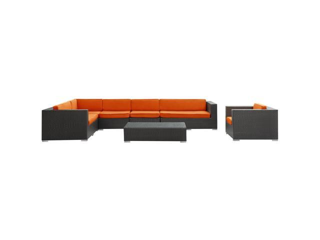 Palm Springs Outdoor Wicker Patio 7 Piece Sectional Sofa Set in Espresso with Orange Cushions