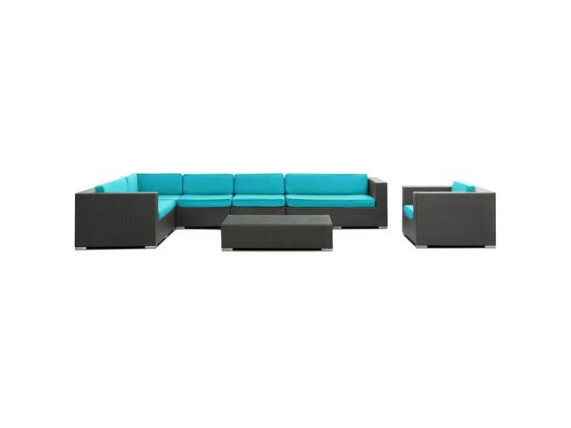 Palm Springs Outdoor Wicker Patio 7 Piece Sectional Sofa Set in Espresso with Turquoise Cushions