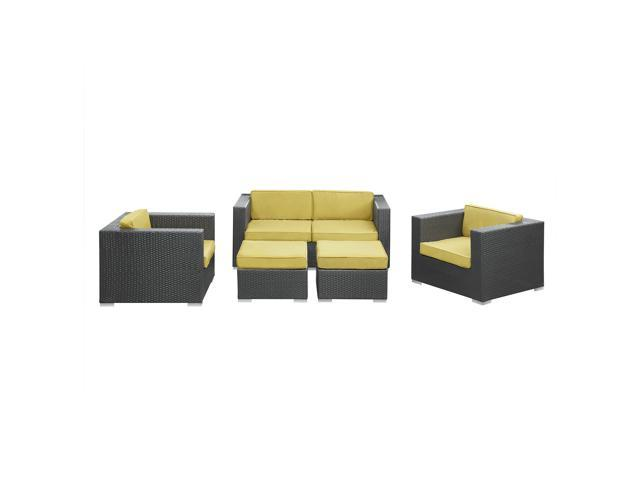 Malibu Outdoor Wicker Patio 5 Piece Sofa Set In Espresso with Peridot Cushions