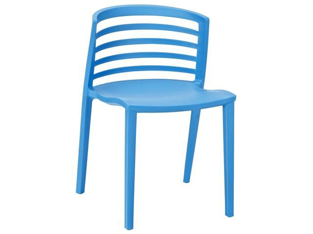 curvy blue plastic chair