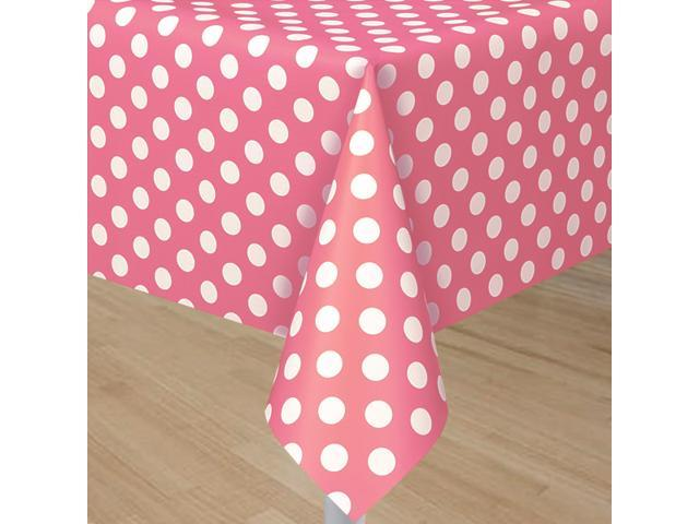 Pink Tablecover With White Polka Dots