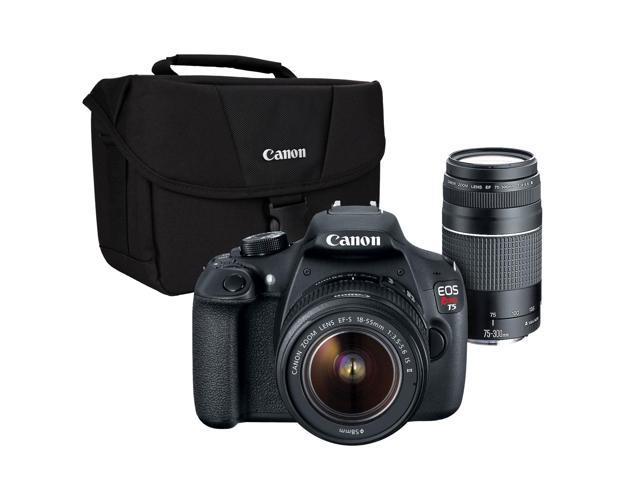 Canon EOS Rebel T5 2-Lens Kit 18MP DSLR w/18-55mm and 75-300mm Lenses