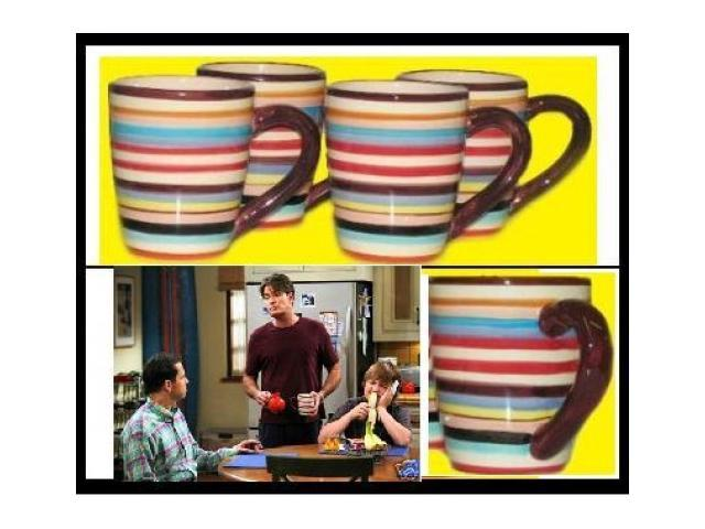 Two and a half men charlie sheen cups mugs coffee set 4 - Two and a half men coffee mug ...