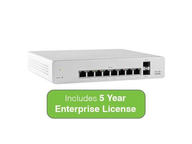 Meraki Cloud Managed MS220 Series 8 Port Gigabit Switch Bundle - 8x 1GbE Ports - Includes 5 Year Enterprise License