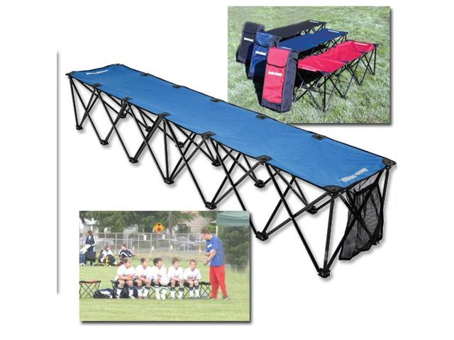 Insta Bench Portable Sideline 6 Seater W Folding Steel Frame Scarlet