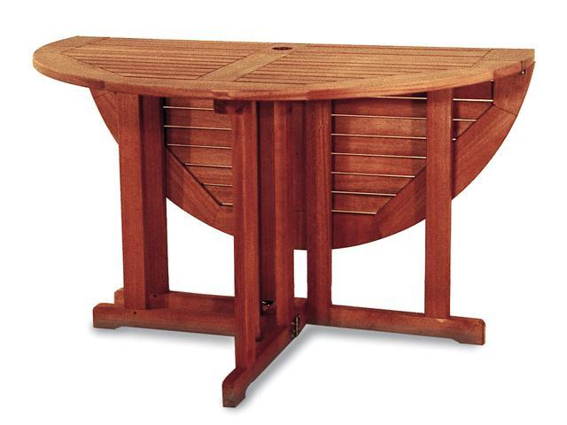Round All Wood Patio Folding Table 48 Inches