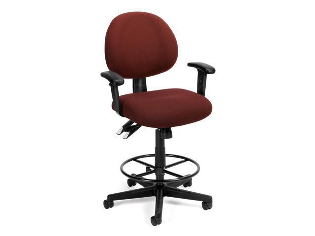 Extended Use Computer Task Chair w Arms & Drafting Kit (Burgundy)