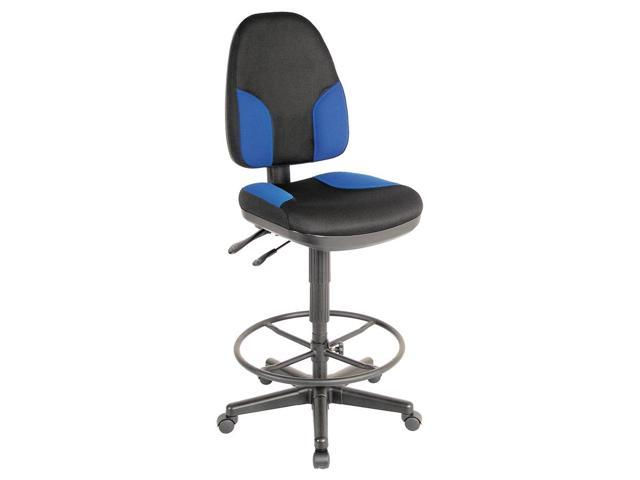 Monarch High Back Drafting Chair in Blue & Black
