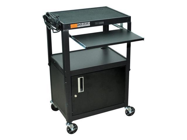 Adjustable AV Cart w Locking Cabinet in Black