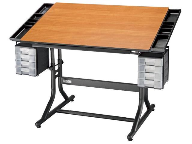 Oversized Adjustable Drawing Table (Cherry Top w Black Base)