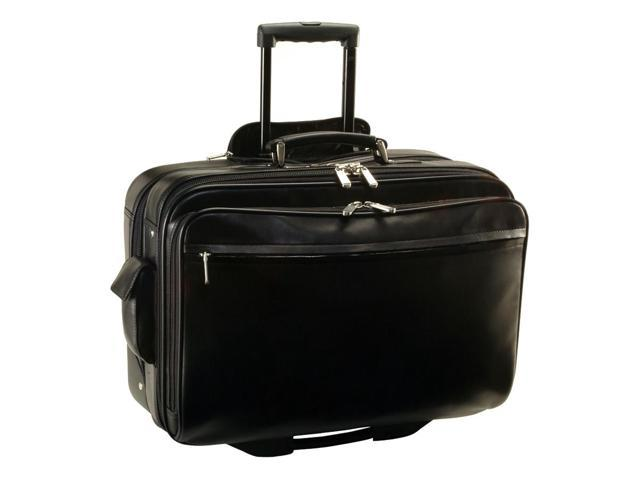 Deluxe Rolling Computer Bag in Top Grain Leather w 4 Compartments