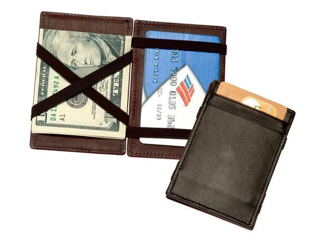 The Magic Wallet in Top Grain Leather w Pockets & Elastic Straps (Black)