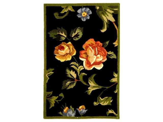 Hand-Hooked Black Rose Print Rug (1 ft. 8 in. x 2 ft. 6 in.)