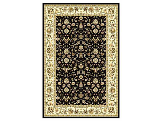 "Traditional Black Floral Rug (5'-3"" ft. Round)"