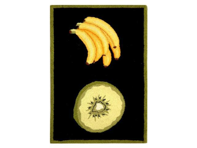 Hunter Green Rug with Fruit (5 ft. 3 in. x 8 ft. 3 in.)