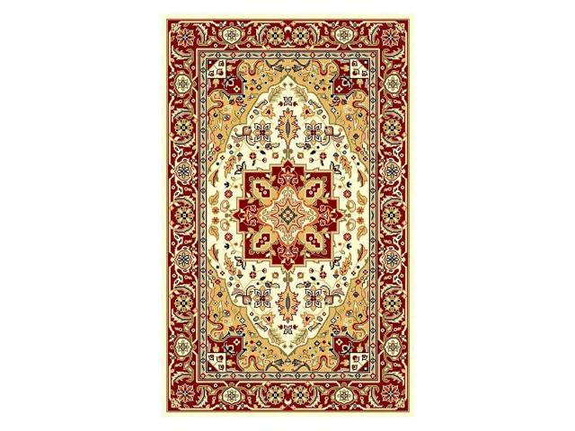 Ivory & Red Traditional Area Rug (5 ft. 3 in. x 7 ft. 6 in.)