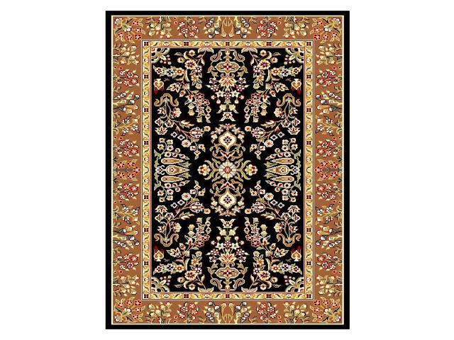 Rug with Black Background & Tan Border (8 ft. Round)