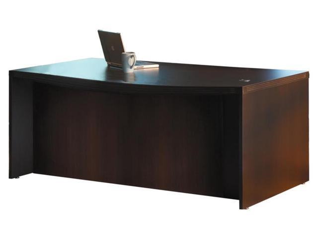 Bow Front Desk in Mocha Finish (72 in.)
