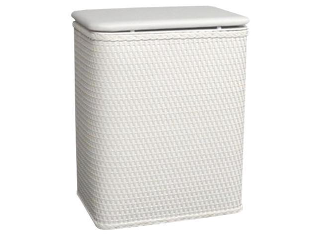 Hamper W Wicker Lid Interior Bag White
