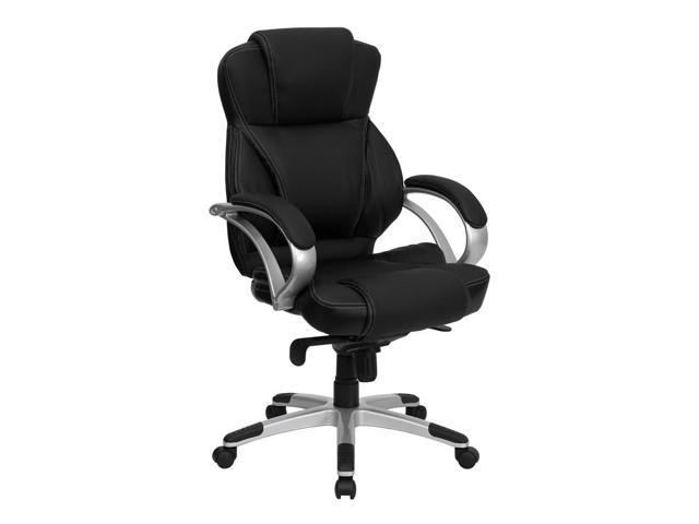 Black Leather Contemporary Swivel Office Chair
