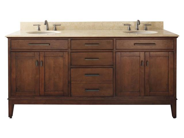 72 in. Vanity w Marble Top in Tobacco - Madison