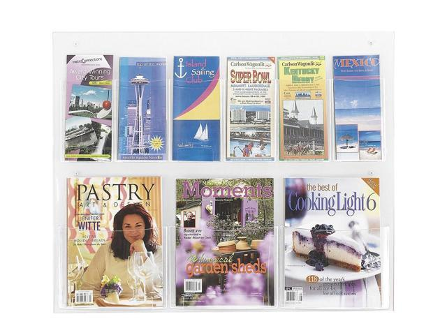 Clear2c 6 Pamphlet and 3 Magazine Display Rack in Clear Finish