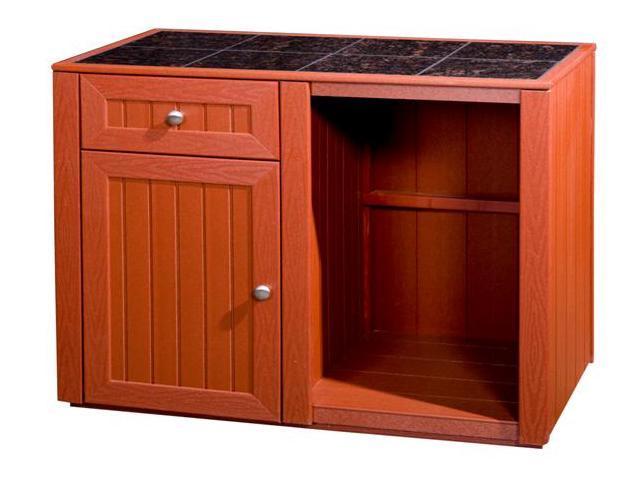 Outdoor Kitchen Server w Storage Cabinet (Gray)