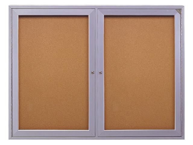 GHENT PA23648K Enclosed Bulletin Board, Cork, 36x48 In.