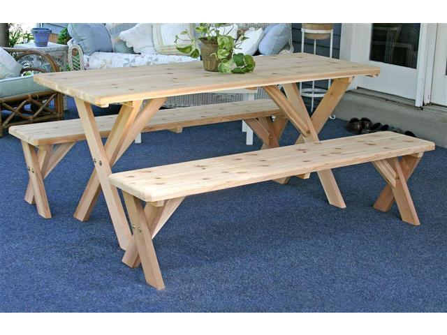 Backyard Bash Picnic Table w 2 Detached Benches (48 in.)