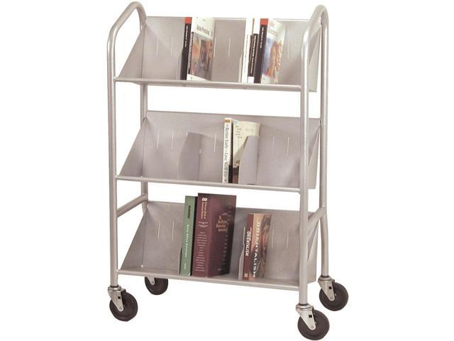 Sloped Three Shelf Cart with Dividers (Platinum)