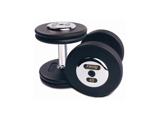 Fixed Pro-Style Dumbbells with Straight Handle, Black Plate and Chrome End Cap - Set of 2 (145 lbs.)