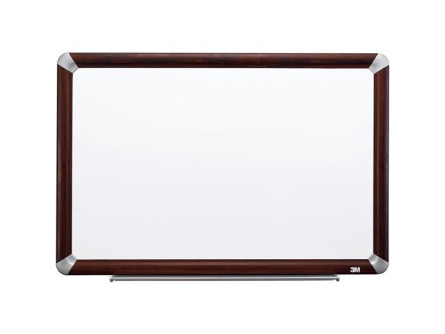 3M Dry-Erase Board, Melamine, 4'X3', Mahogany Frame