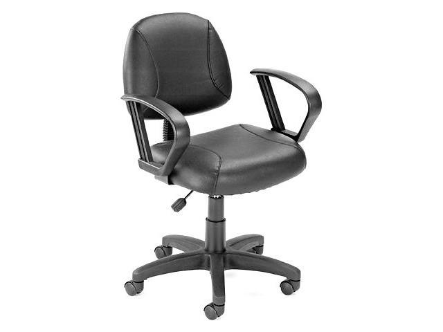 Fabric Office Chair In Black W Loop Arms Lumbar Support Adjustable Hei