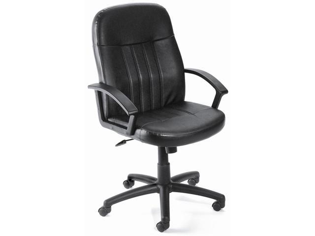 Mid Back Ergonomic Desk Chair In Black w Arms Lumbar