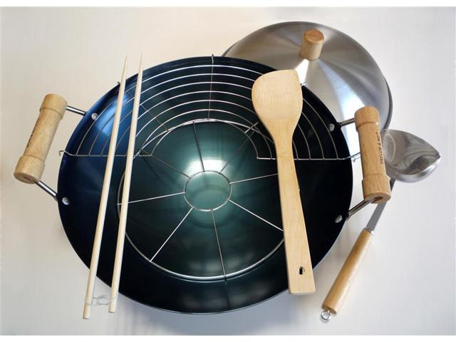 8 Pc 14 in. Double Handle Wok Set