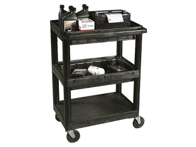 Utility Cart w 3 Shelves in Black