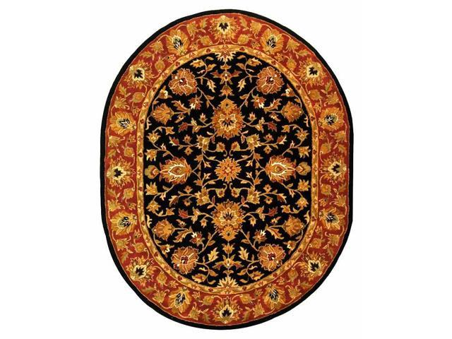 Hand Tufted Oval Rug in Black with Red