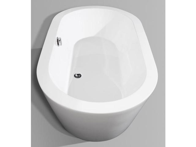 Wyndham Collection Mermaid 60 Inch Freestanding Bathtub In White With Polis