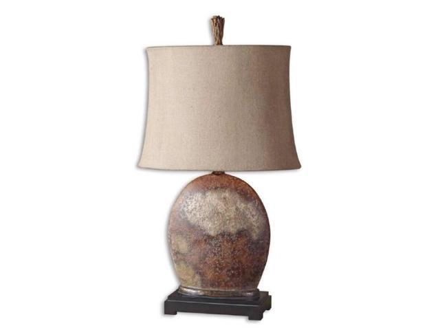 yunu table lamp in oval semi drum shade. Black Bedroom Furniture Sets. Home Design Ideas