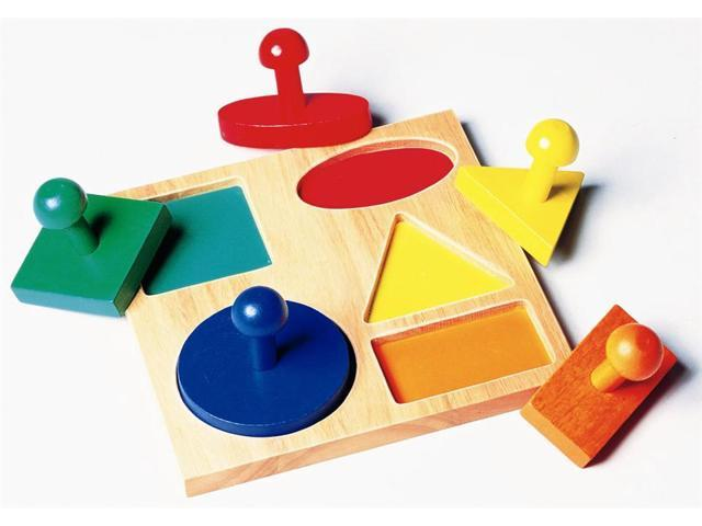 Preschool Puzzle Board w Color-Coded Geometric Shapes and Wood Pieces