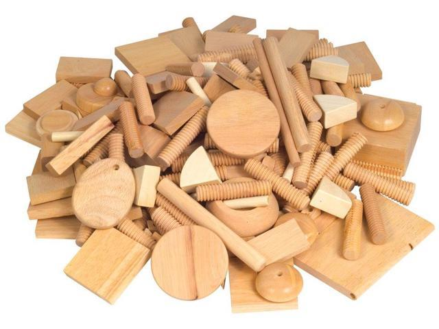 Vari-Design Playtime Wood Blocks and Shapes - 6 Pounds