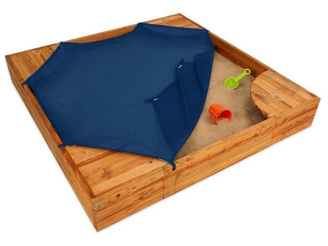 Backyard Sandbox : Kids Backyard Sandbox in Honey w Corner Seats & Mesh CoverNeweggcom