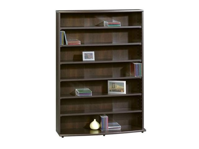 7 Shelf Multimedia Storage Tower in Cinnamon Cherry Finish