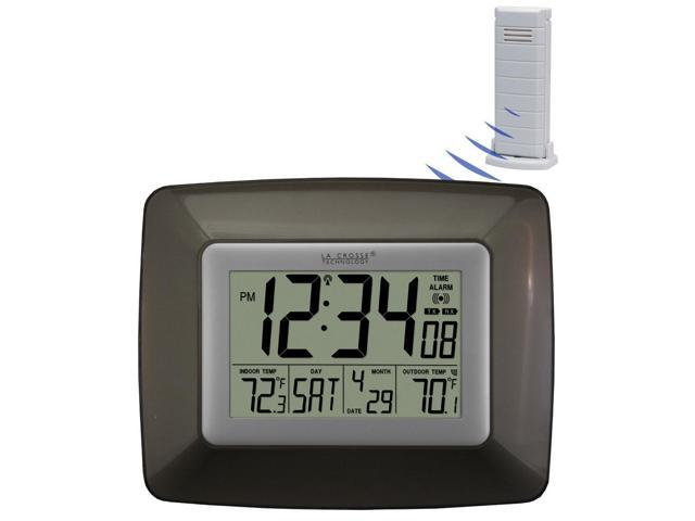 Atomic Digital Wall Clock With Alarm White