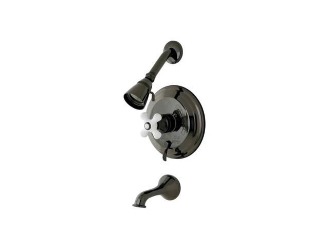 Kingston Brass NB36300PX Water Onyx Pressure Balanced Tub & Shower Faucet with Porcelain Cross Handle and Vintage Spout