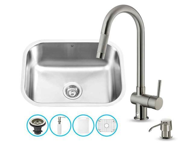 stainless steel kitchen sink and faucet set with aerator