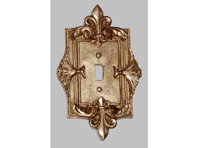 Fleur De Lis Single Switch Plate In Antique Gold Finish